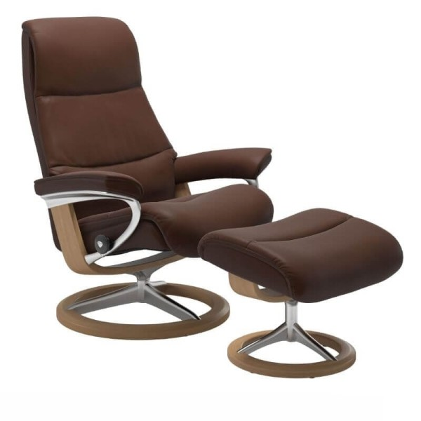 Stressless Sessel View Leder Signature Untergestell mit Hocker