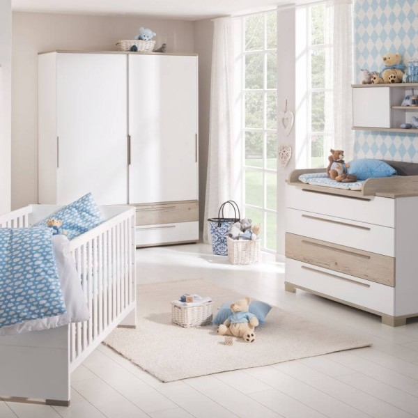 PAIDI Babyzimmer Carlo - Kinderbett, Kommode, Schiebetürenschrank