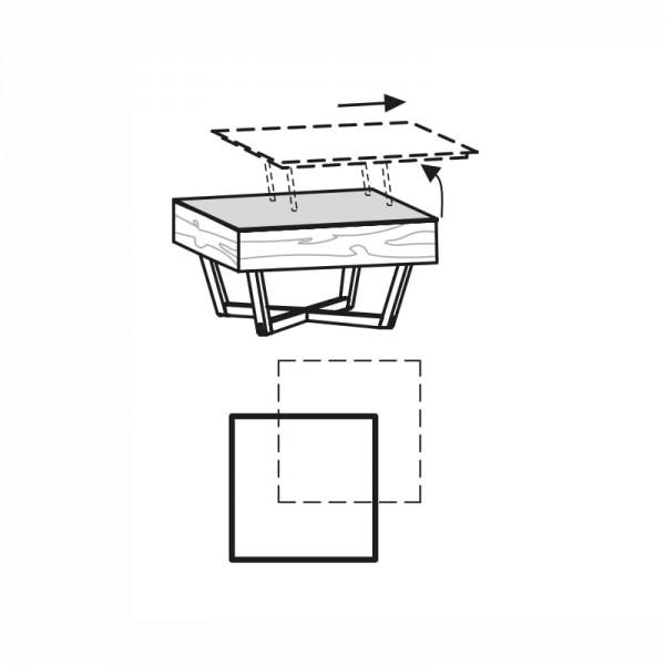Voglauer Couchtisch 80/80 V-Alpin mit Glasplatte, AC88A
