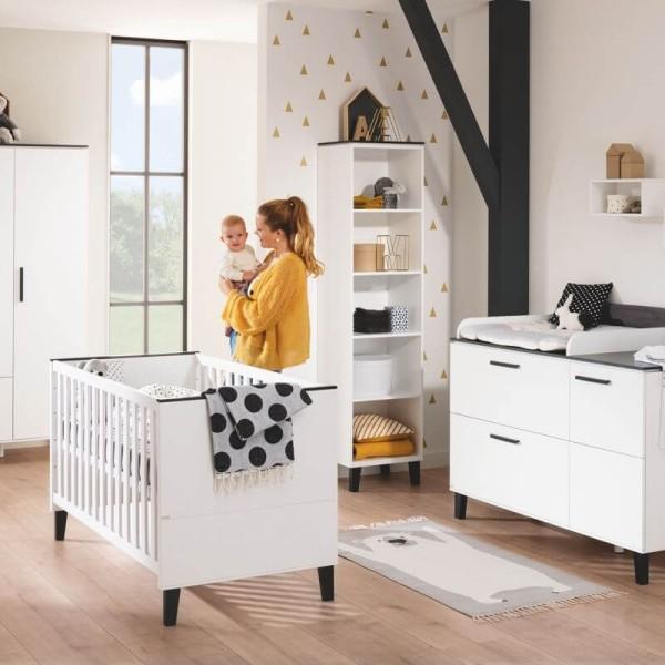 PAIDI Babyzimmer Eliana - Kinderbett, Kommode, Standregal